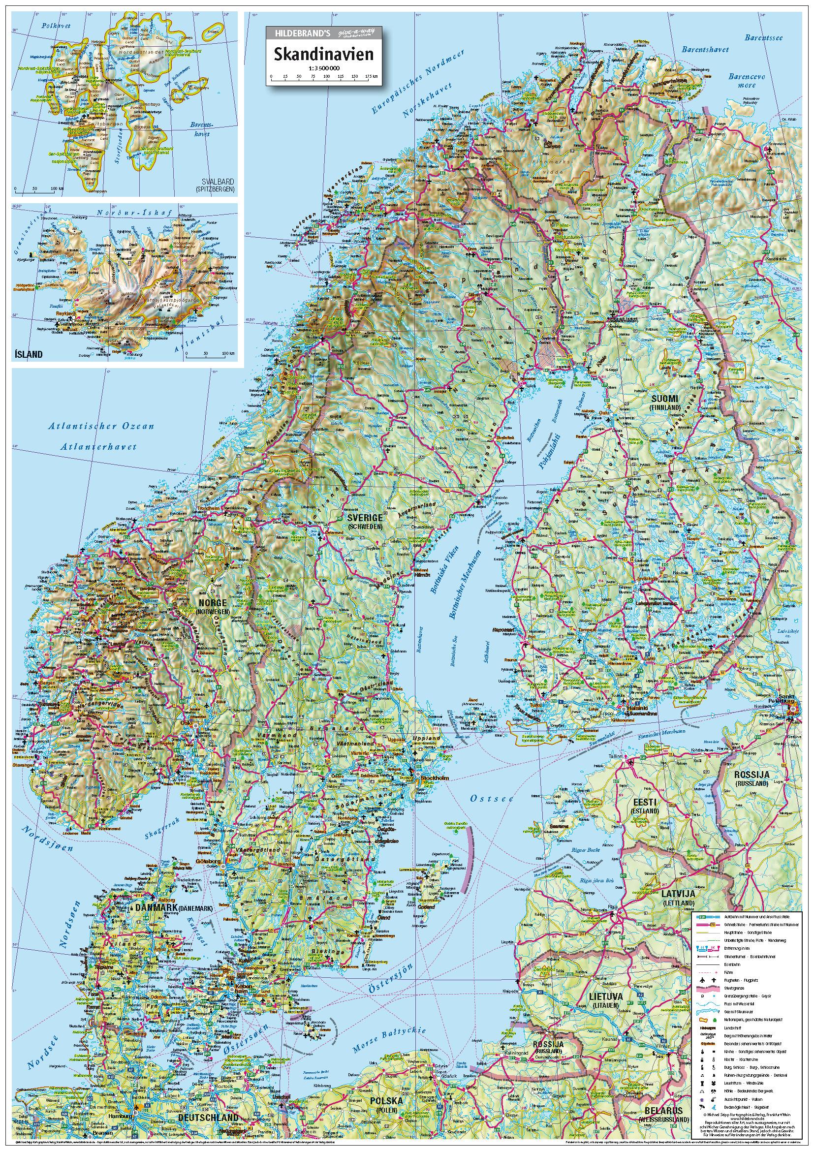 Karte Skandinavien.Michael Seipp Verlag Skandinavien